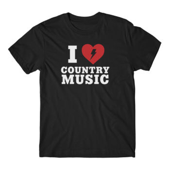 I HEART COUNTRY MUSIC - Short Sleeve T-shirt - Black Thumbnail