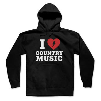 I HEART COUNTRY MUSIC - Pullover Hoodie - Black Thumbnail