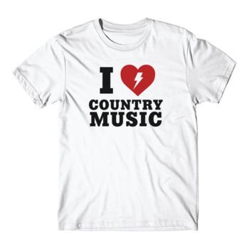 I HEART COUNTRY MUSIC - Short Sleeve T-shirt - White Thumbnail